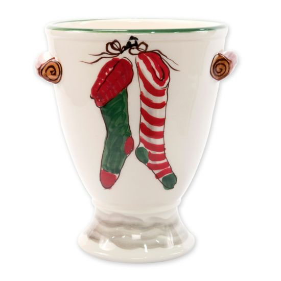 Vietri OLD ST NICK FOOTED URN WITH CHIMNEY & STOCKINGS