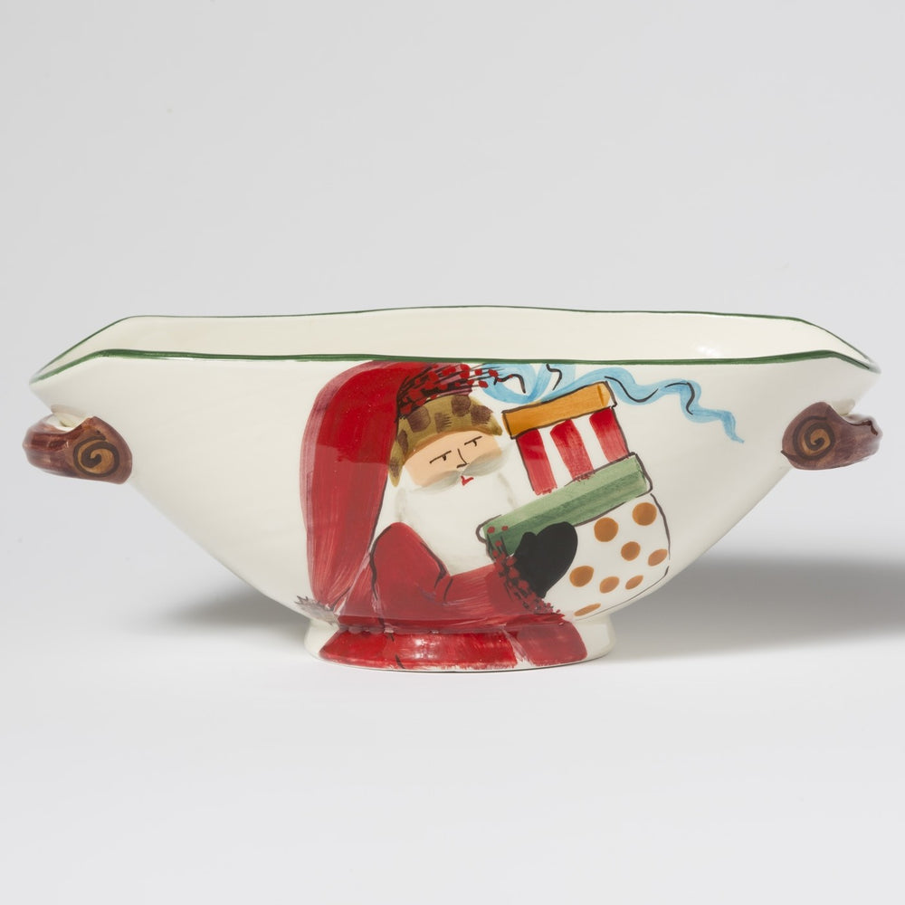 Vietri Old St. Nick Handled Oval Bowl With Presents OSN-78047