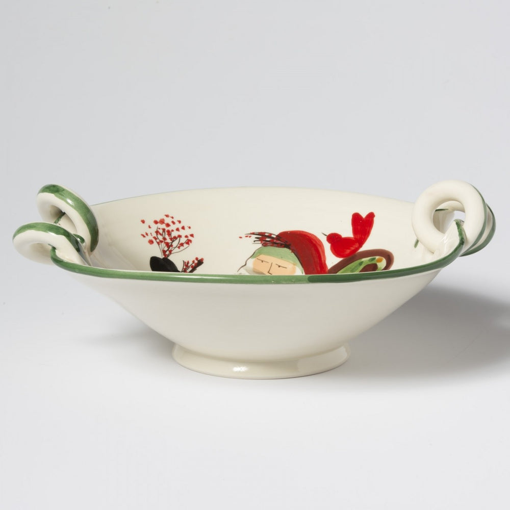 Vietri Old St. Nick Scallop Handled Bowl With Sleigh OSN-78052