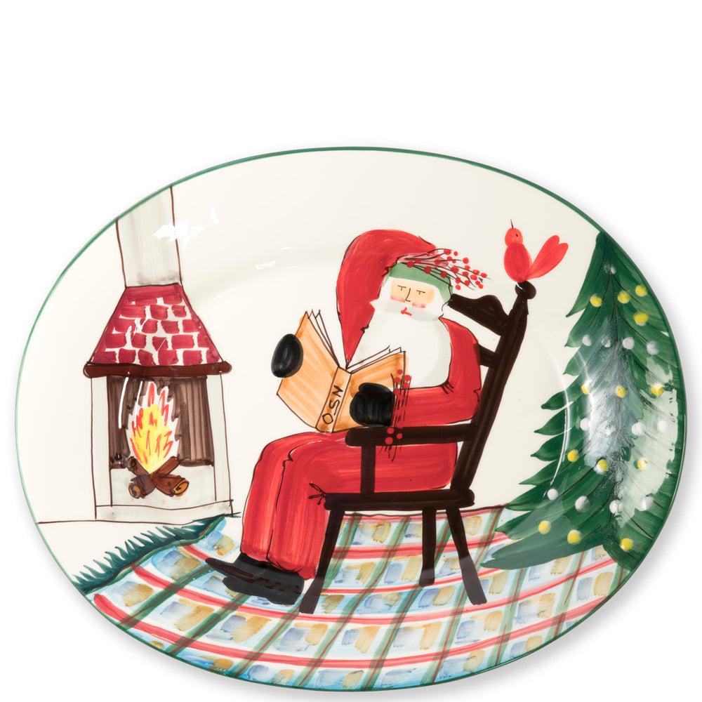 Vietri OLD ST NICK LARGE OVAL PLATTER WITH SANTA READING