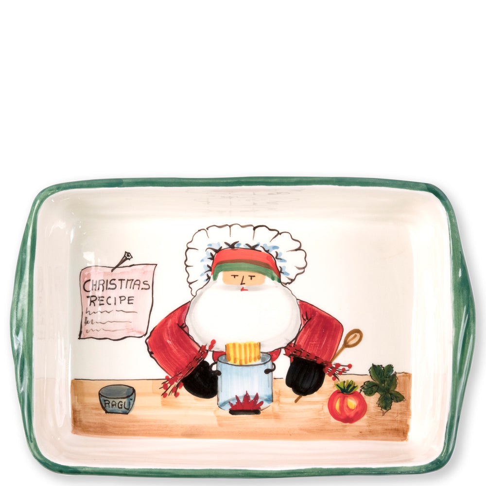 Vietri OLD ST NICK RECTANGULAR BAKING DISH WITH CHEF
