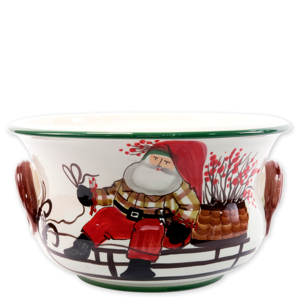 Vietri OLD ST NICK FOOTED ROUND CACHEPOT WITH SLEIGH