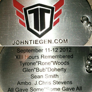 Commemorative Benghazi Dog Tag - John Tiegen