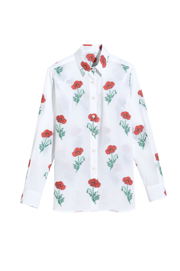 Danielle Fichera - Resort 2020 - Beatrice Blouse in White + Red