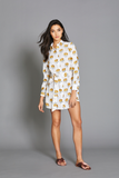 Penelope Dress in White & Yellow