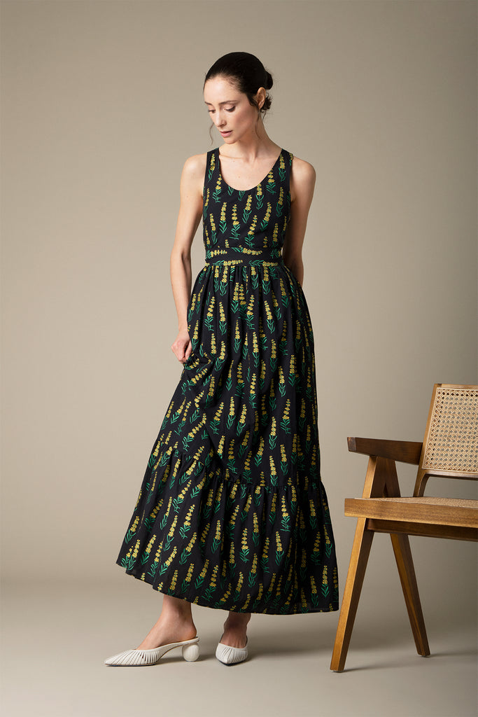 Danielle Fichera - Resort 2020 - Genevieve Maxi Dress in Black and Yellow on Model