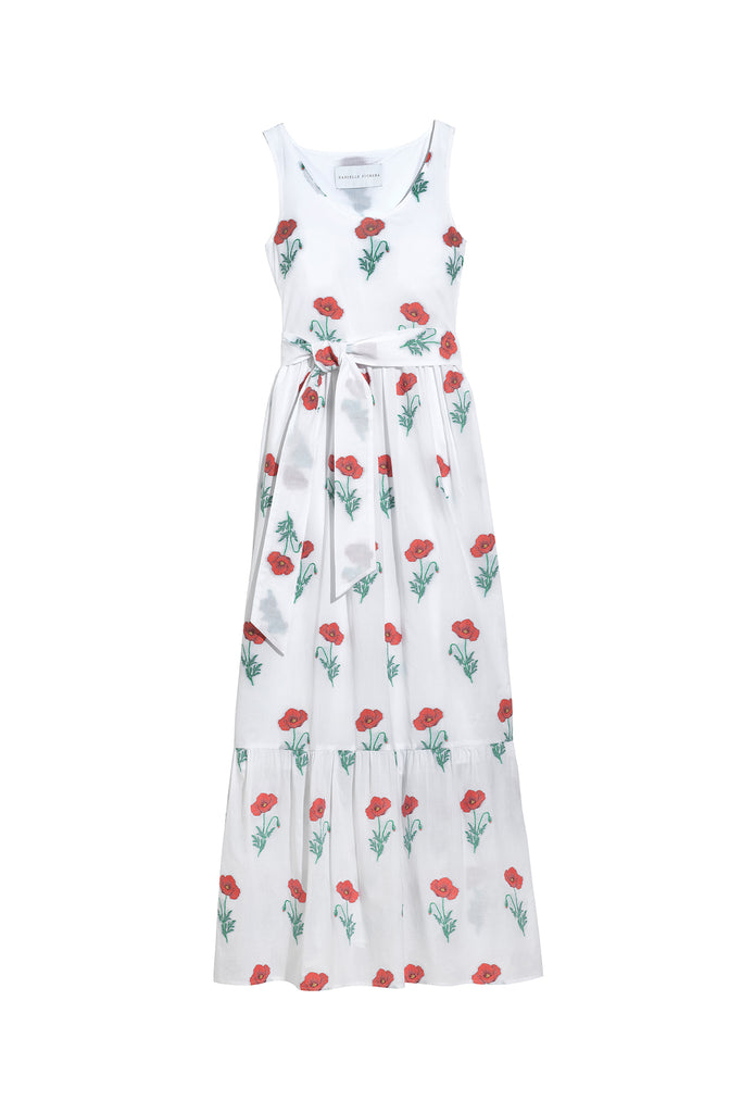 Danielle Fichera - Resort 2020 - Genevieve Maxi Dress in White and Red flat Image
