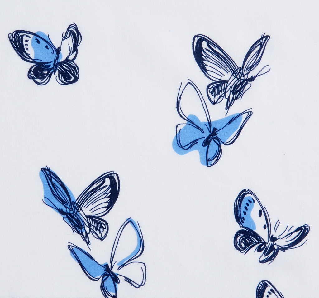 Danielle Fichera Bespoke White and Navy Butterfly Print Fabric Swatch
