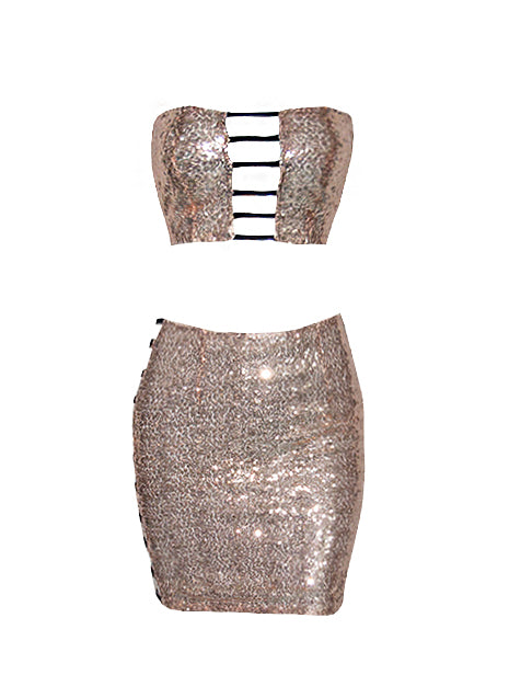 JESSICA SEQUIN CUT-OUT SET
