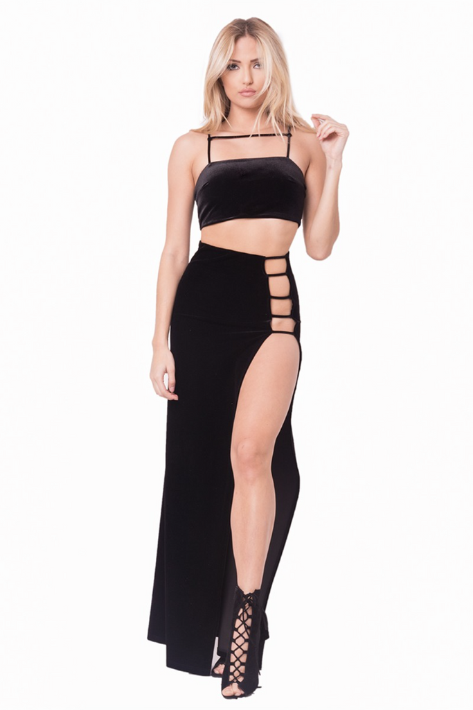LAURA BLACK VELVET TWO PIECE SET