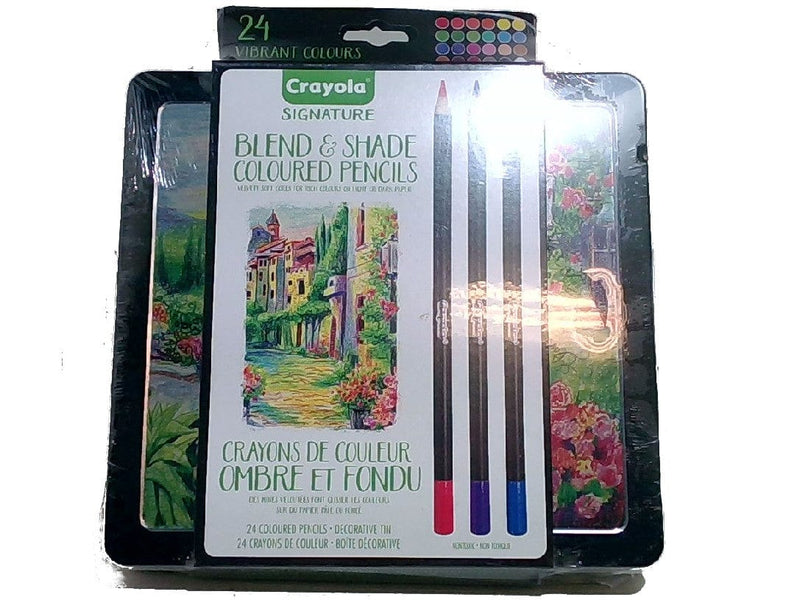 Coloured Pencils 24pk. Blend & Shade W/decorative Tin Crayola Signature