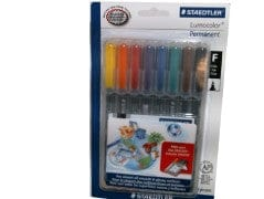 Marker Permanent 8pk Colours For Glossy Surfaces Staedtler fine
