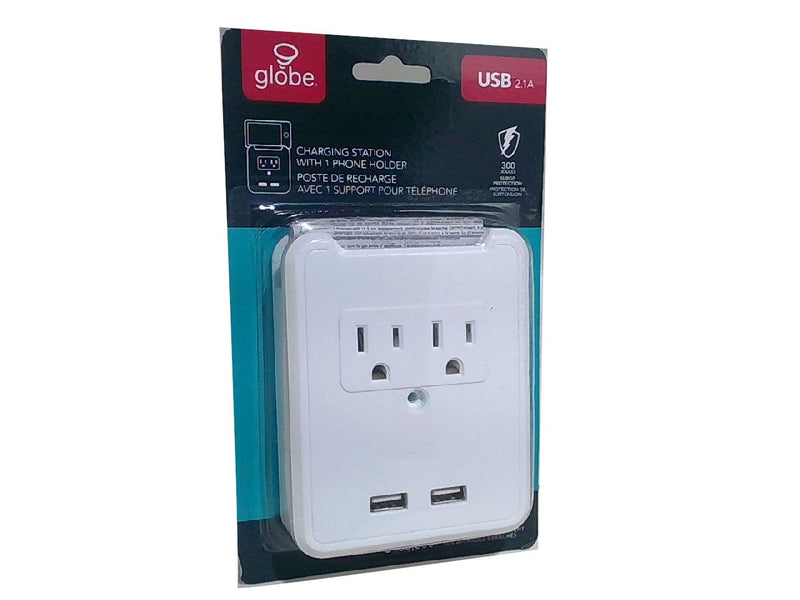 Charging Station USB 2.1A 2 Plug Outlet Globe