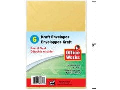 Kraft Envelope peel-n-seal 6pc 6.5x9.5