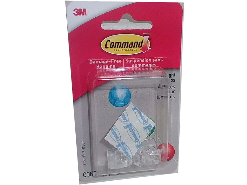 Clips Hanging Light 4pk Clear Command 3m