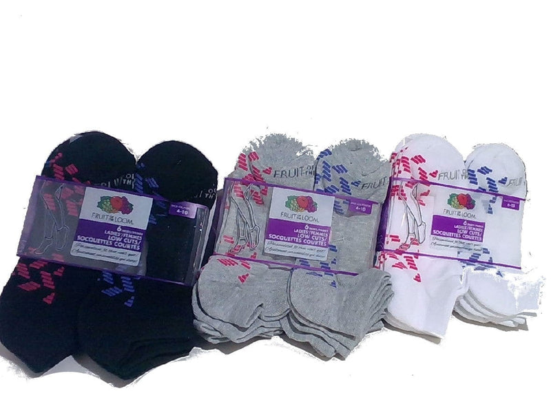 Socks Ladies Low Cut 6pk. Ass't Colours Fruit Of The Loom