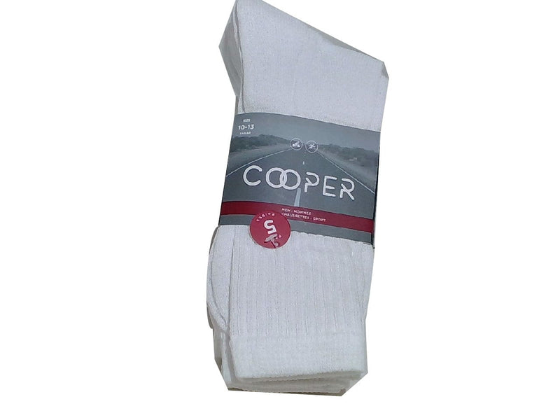 Socks Men's 5pk. White Size 10-13 Cooper (ENDCAP)