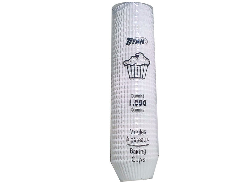 "Baking Cups 4.5""x1-15/16""x1-9/32"" 1000pk. White Titan"