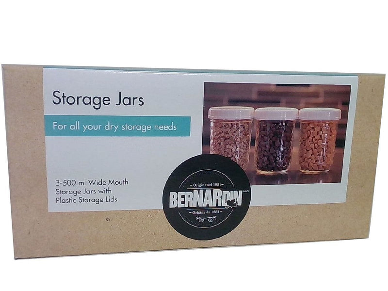Storage Jar Set 3pc. x 500mL w/Plastic Lids Bernardin