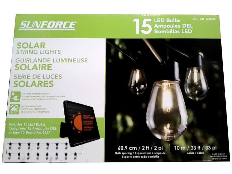 String Lights Solar 15 Bulbs 33' Cable 2' Sunforce (REFURBISHED)