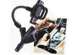 Charger and holder for car - with 2  USB jacks and cig lighter passthru