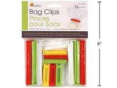Bag clips 13 pcs Assorted sizes/colours