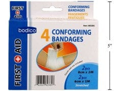 Conforming bandages 4 pack 2-8cmx2M 2-6cmx2M first-aid bodico