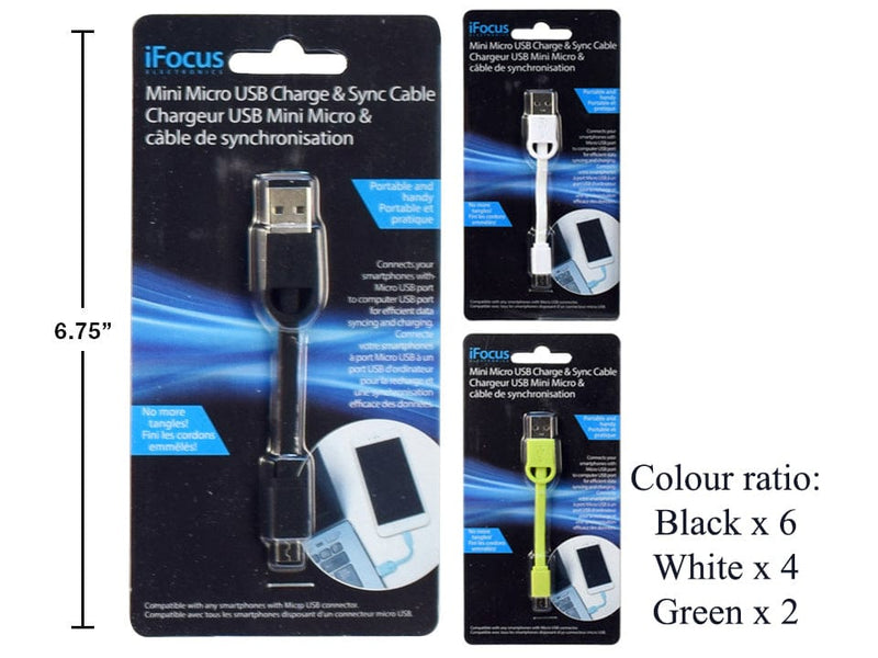 Cable micro usb charge and sync 4 inch assorted colours iFocus