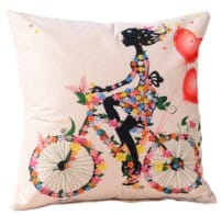 Cushion outdoor water resistant 18x18 inch - beauty love bike