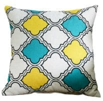 Cushion outdoor water resistant 18x18 inch - blue/yellow pattern