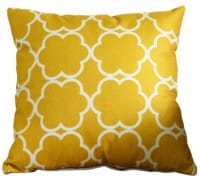 Cushion outdoor water resistant 18x18 inch - gold/white pattern
