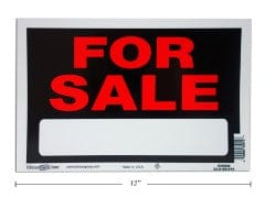 "FOR SALE SIGN 8X12""        MADE IN USA"