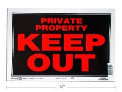"PRIVATE KEEP OUT SIGN 8X12"" MADE IN USA"