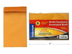 "BROWN ENVELOPES 6X9"" 6/PKG 95GMS"