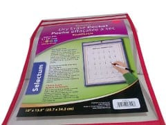 Re-Usable Dry Erase Pockets  4 asst.colors