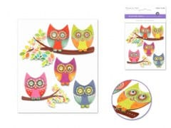 Handmade Sticker: 9.5cmx11.5cm 3D Themed M) Glam Owls