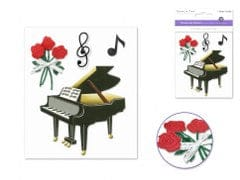 Handmade Sticker: 9.5cmx11.5cm 3D Themed N) Grand Piano