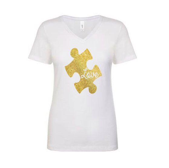 Puzzle Autism Awareness Shirt Custom Gold