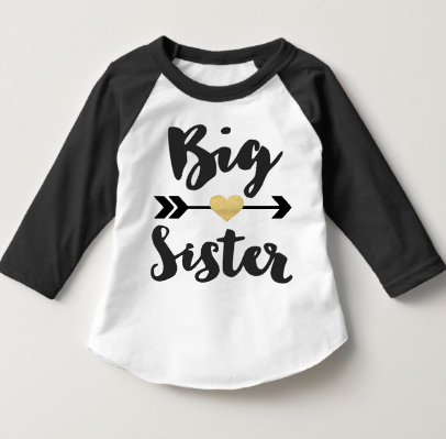 Big Sister Baseball Raglan Shirt - Pregnancy Announcement - Black Gold Glitter