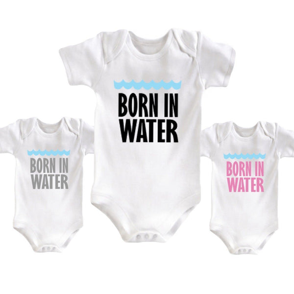 Born in Water Home Birth Onesie Bodysuit Born at home water baby
