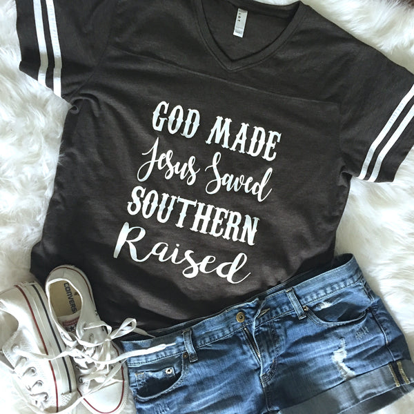 God Made Jesus Saved Southern Raised Christian Women's Shirt