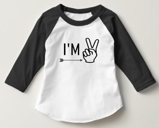 I'm Two Raglan - Black - Tulip + Vine