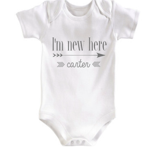 New here baby onesie