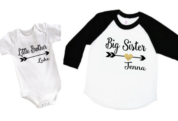 Brother/Sister Shirt or Bodysuit Personalized - Tulip + Vine