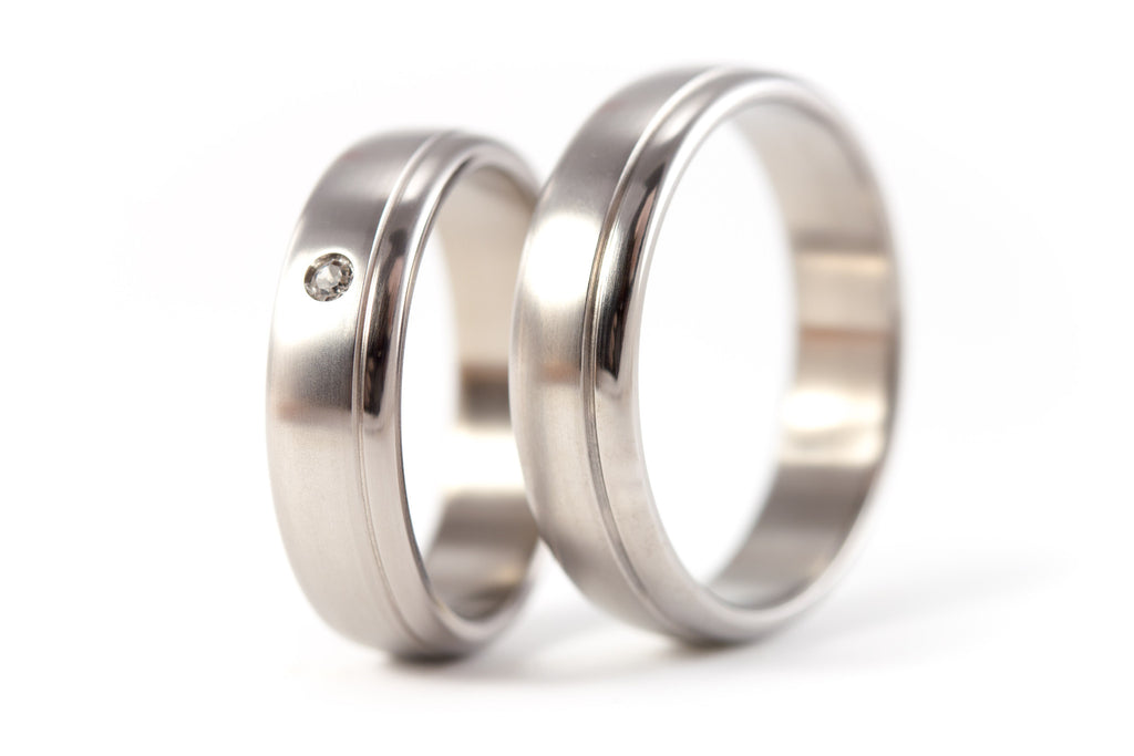 Brushed titanium wedding bands with polished inlay and Swarovski (00015_5S1_5N)