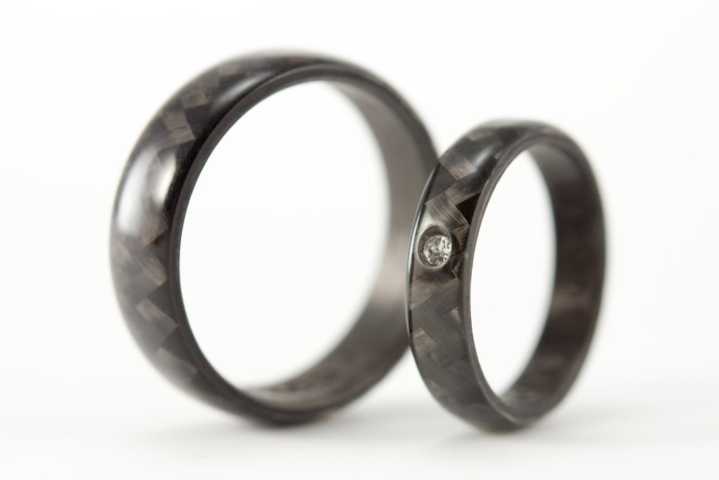 polished carbon fiber wedding bands with swarovski crystal 00103_4s7n - Carbon Fiber Wedding Rings