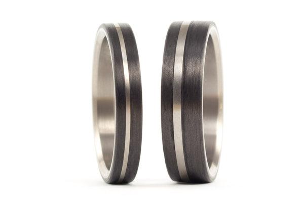 Titanium and carbon fiber wedding bands (00318_4N7N)
