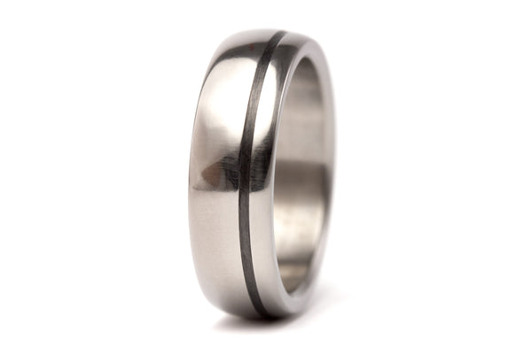 Polished titanium and carbon fiber wedding bands (00334_4N7N)