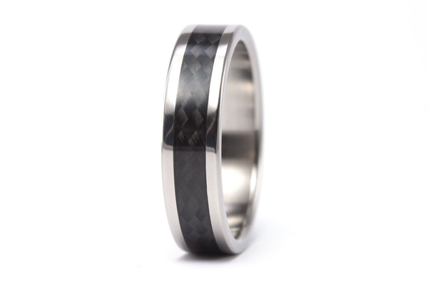Titanium and carbon fiber wedding bands with Swarovski (00335_4S1_6N)