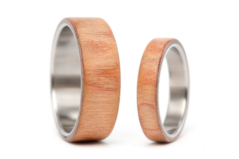 Titanium and walnut bentwood wedding bands (00518_4N7N)